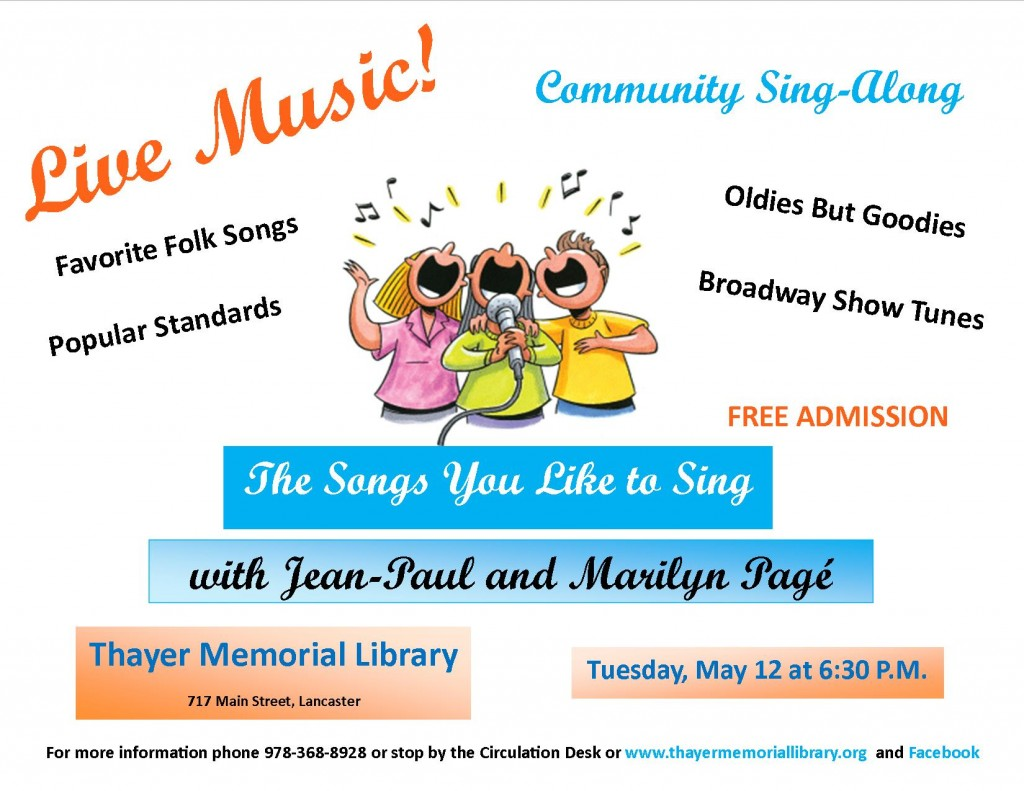 Songs You Like to Sing 2015 flyer horizontal jpeg – Thayer